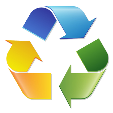 waste recovery: tri color economic recycle sign on white background