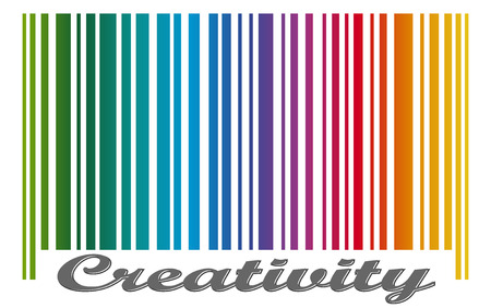 stocktaking: bar code with colored gradient and text CREATIVITY Illustration