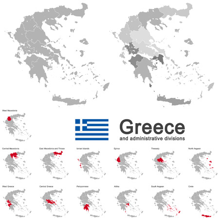 greece map: european country Greece and administrative divisions