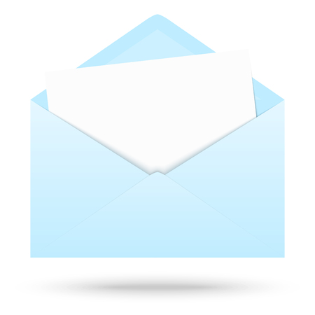 blue light: light blue colored opened envelope with white empty paper Illustration