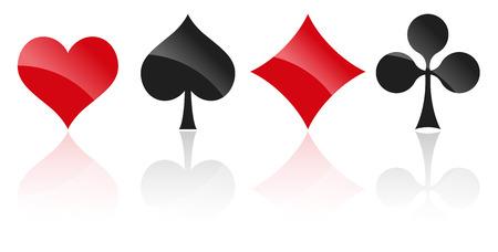 frances: francés tarjetas que juegan símbolos corazones, azulejos, tréboles y picas con la reflexión