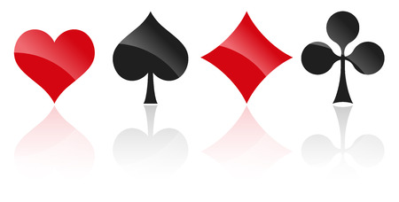 french playing cards symbols hearts, tiles, clovers and pikes with reflection Illustration