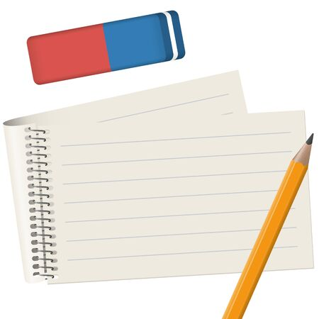 gray paper pad with pencil and eraser