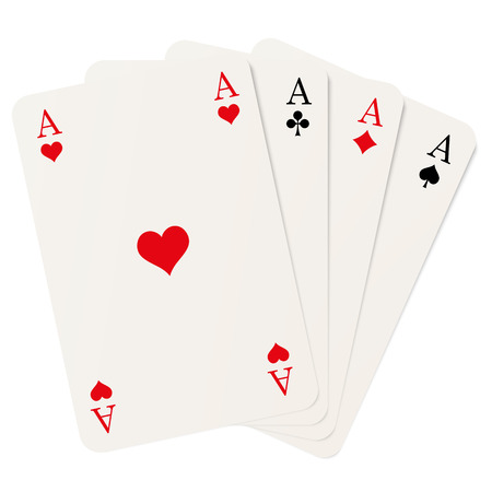 aces: four playing cards with aces isolated on white background