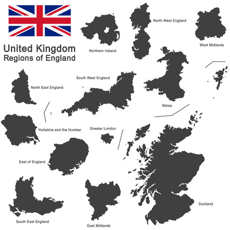 regions: european country United Kingdom and regions of England Illustration