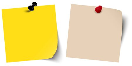 yellow tacks: two little colored sticky papers with shadow and pin needles