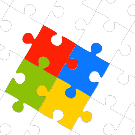 togetherness: puzzle with four colored parts symbolizing teamwork and togetherness