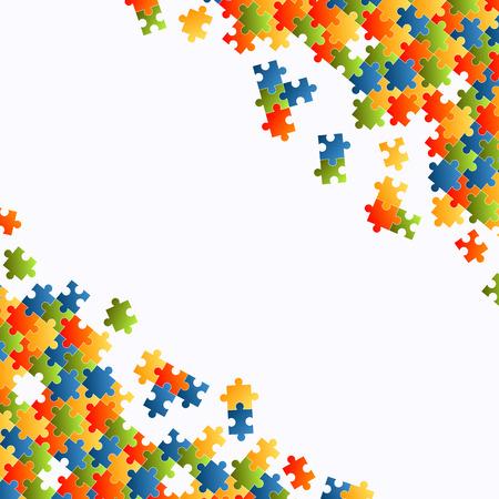 piezas de rompecabezas: finas piezas del rompecabezas de colores sobre fondo blanco
