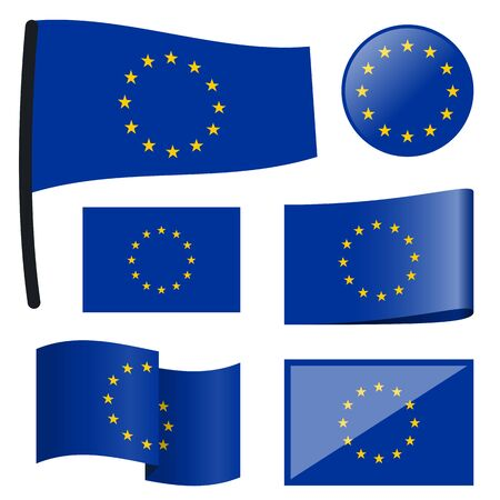 customercare: collection of different swung flags of European Union Illustration