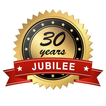 30 years: golden jubilee medallion with red banner for 30 years Illustration