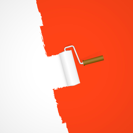 red paint roller: repainting with paint roller color white on red background Illustration
