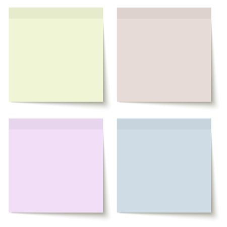 informing: collection of sticky papers with shadow in four different colors