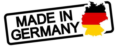 Timbro con cornice colorata di nero e testo Made in Germany Archivio Fotografico - 49446445