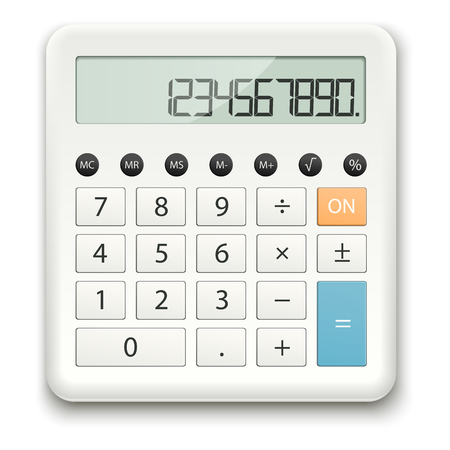 figur: white calculator with standard calculations on white background