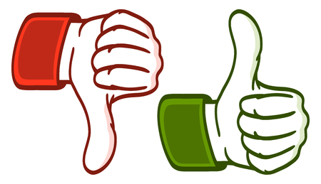 abstract hands in green and red symbolizing like and dislike Illustration