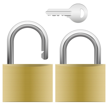 theft proof: opened and closed padlock and silver key isolated