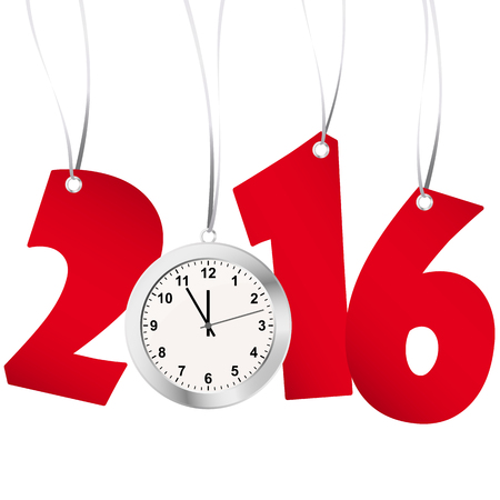 labelling: red numbers showing New Year 2016 with silver clock