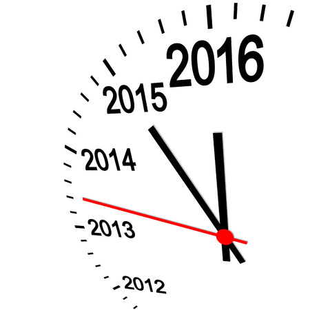 time of the year: three dimensional clock showing New Year 2016 at 12 oclock Illustration