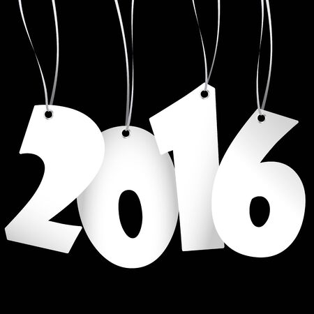 hang tag: white colored hang tag numbers for New Year 2016