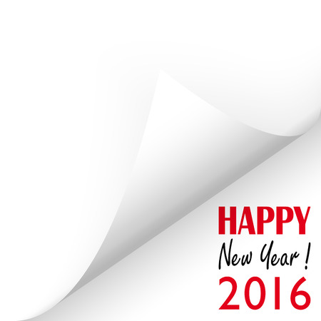 turns of the year: turned over white paper corner showing 2016 and text Happy New Year Illustration