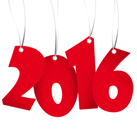 labelling: red colored hang tag numbers for New Year 2016