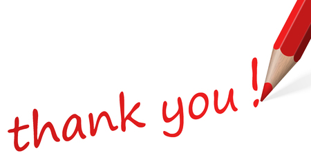 thank you very much: red pencil with text thank you isolated on white background