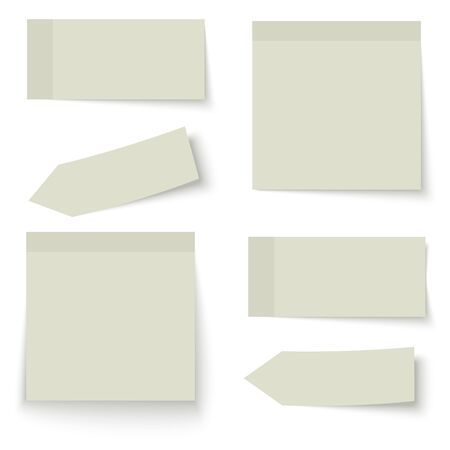 chit: collection of six sticky papers with shadow in color green