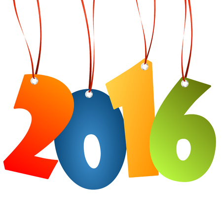 labelling: colored hang tag numbers for New Year 2016
