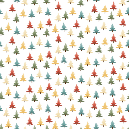 christmas paper: seamless pattern with colored christmas trees on white background Illustration