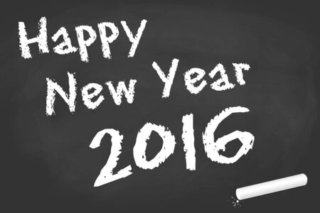 black board: greetings on black board with text Happy New Year 2016