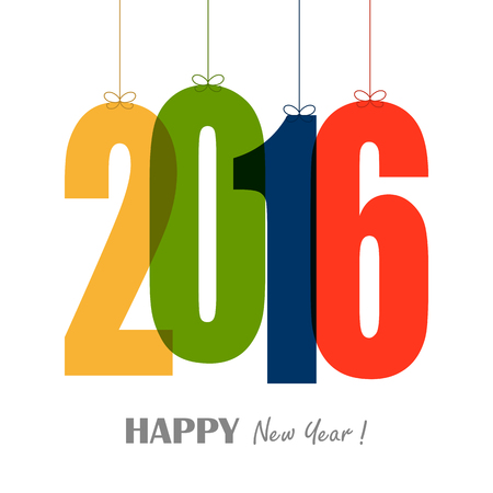 hang tag: gold colored hang tag numbers for New Year 2016 Illustration