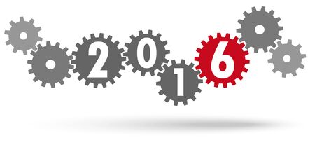 sylvester: cooperation gears colored gray and red for New Year 2016 Illustration