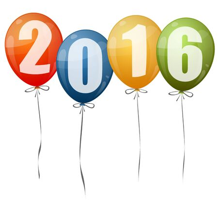 beginnings: colored balloons with numbers for New Year 2016