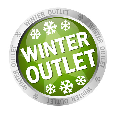cheaper: colored button with banner and text - Winter Outlet