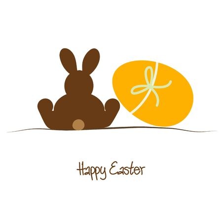 brown egg: Happy Easter background with brown rabbit and yellow egg Illustration