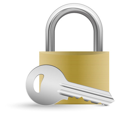 assured: closed padlock and silver key with shadow symbolizing security