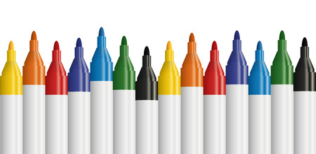 felt tip: seamless row of colored text markers with white background Illustration