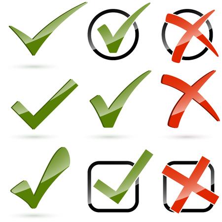 Sammlung von verschiedenen grünen Haken und roten Kreuzen Standard-Bild - 49815713