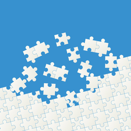 jointly: gray colored puzzle pieces on blue background