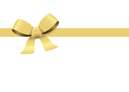 gift ribbon: Bow with ribbons colored gold isolated on white background