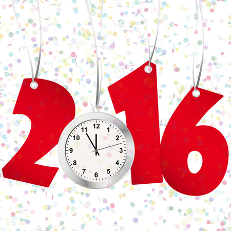 labelling: red numbers showing New Year 2016 with silver clock and confetti background Illustration