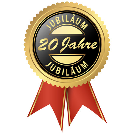 jubilee: seal colored black and gold with red ribbons for twenty years jubilee Illustration