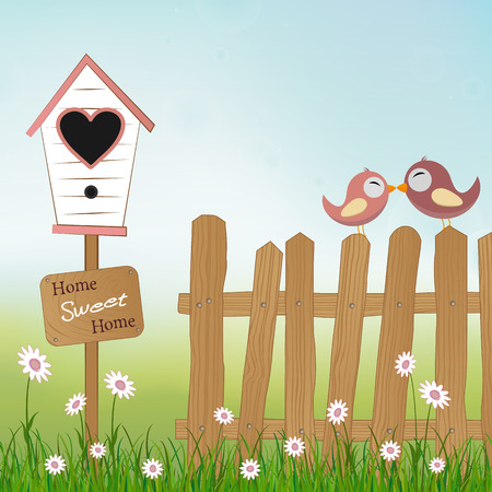 homes: loving birds sitting on wooden fence with birds house and plate Home Sweet Home Illustration