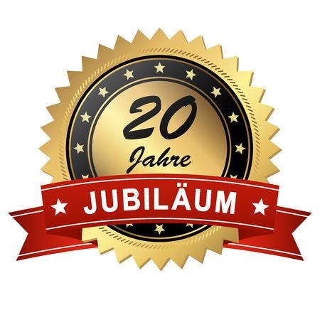 goldenes Jubiläum Medaillon mit roten Banner für 20 Jahre Vektorgrafik