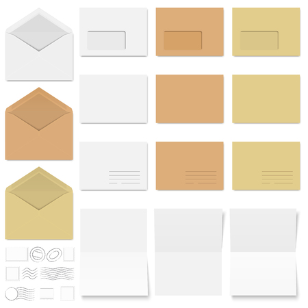 din: collection of colored envelopes, note papers and postage stamps Illustration