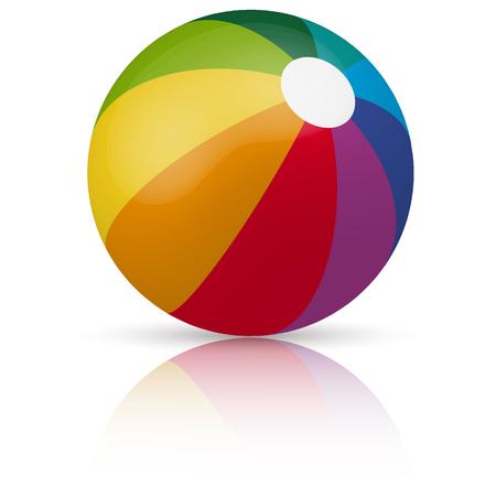 在不同的颜色的海滩球与反射和阴影