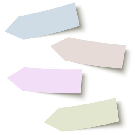 feedback sticker: collection of sticky papers arrow with shadow in four different colors Illustration