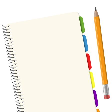 copy writing: blank paper pad with copy space and yellow pencil