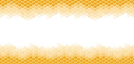 seamless natural orange honey comb top and bottom sides background Vectores