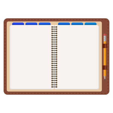 open agenda with free space and yellow pencil isolated